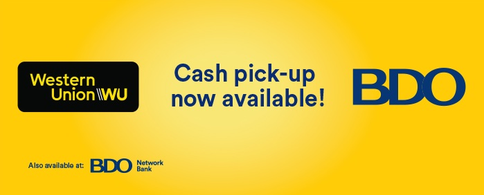 BDO Now Offers 'Cash Pick-Up' of Western Union Remittance