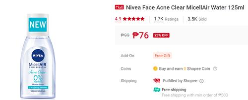 Nivea Face Acne Clear MicellAir Water