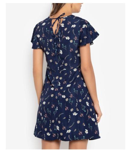 Krizia Floral Tie-Back Dress