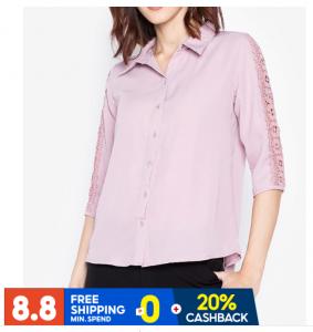 Krizia Guipure Lace Trimmed Sleeve Button Down Shirt
